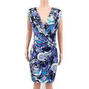 Cache Floral Paisley Faux Wrap Draped Sheath Dress